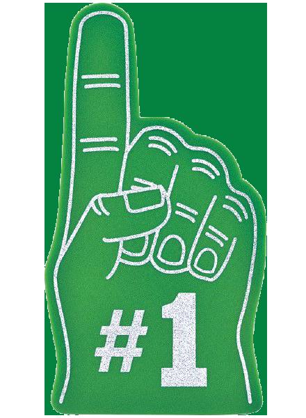 Green foam number one hand