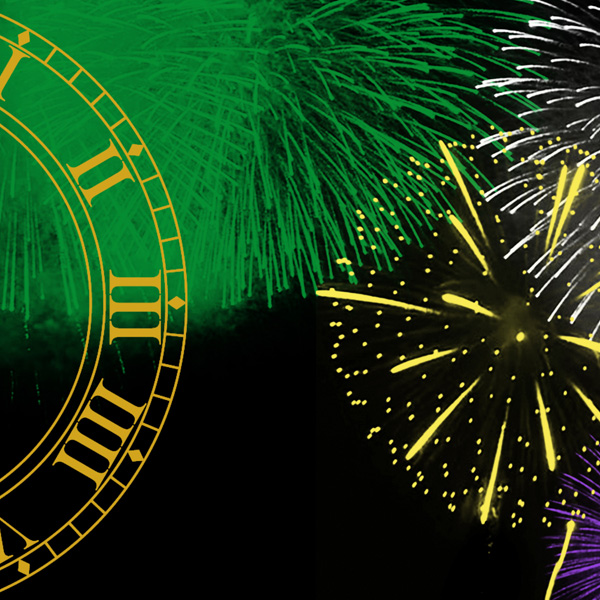 New Year's graphic, fireworks and a clock face