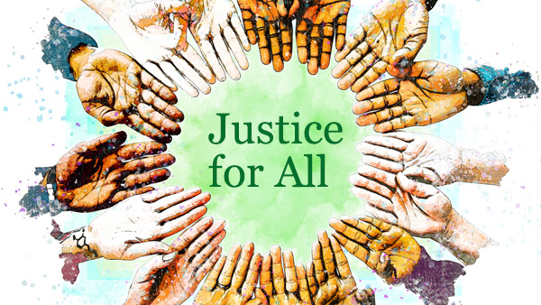 Justice for All, diverse hands forming a circle