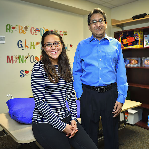 Manish Vaidya, associate professor in the University of North Texas Department of Behavior Analysis, and graduate student Maria Otero are using a motion monitoring computer program to teach young children to stay mostly motionless during radiation treatments for cancer. They are currently testing the technology on healthy children.