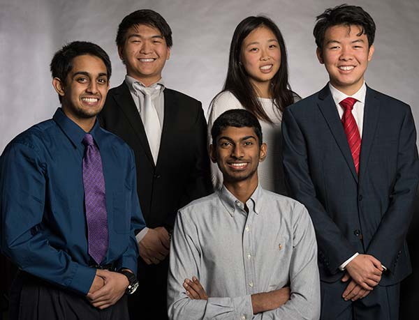 Texas Academy of Mathematics and Science students (front row) Ashwin Kumar of Irving, Abhishek Mohan of Irving and Tan Yan of Coppell, and (back row) Ted Zhao of Arlington and Sarah Zou of Sugar Land