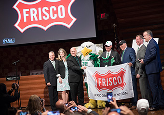 UNT President Neal Smatresk poses with representatives from the Frisco City Council, and Frisco Economic and Community Development Corporation Boards following the announcement of a partnership that will build a 100-acre UNT branch campus in Frisco.