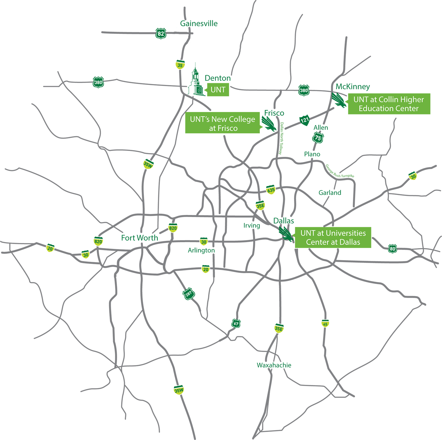 Denton Ohio Map.Unt Locations University Of North Texas
